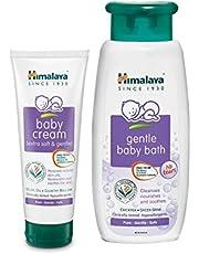 Himalaya Baby Cream, 200ml and Gentle Bath (400ml) Combo