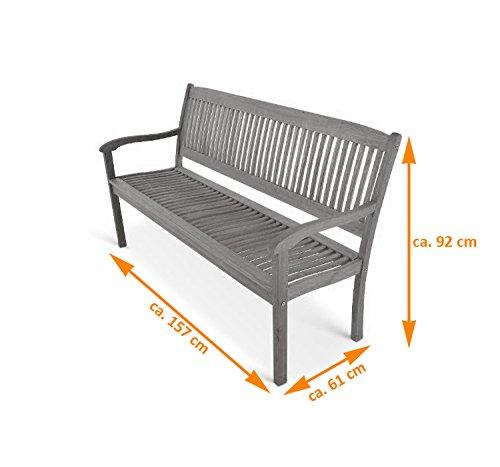 SAM® Gartenbank Maracaibo aus Akazienholz, FSC® 100% zertifiziert, 157 cm breit, 3-Sitzer Holzbank, geölt, Gartenmöbel aus Holz für Terrasse & Balkon - 7