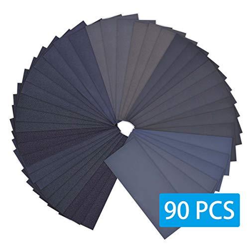WAIIDO Papier de verre, assortiment de papier de verre sec 9,6x23 cm pour 90 à 400 grains de grain 3000 à 3000 pour le sablage automobile de meubles en bois