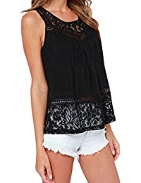 0ebab0bc5c Eleery Women Fashion Sleeveless Plus Size Casual Slim Vest Crop Tank Top  Shirt Sexy Lace Back