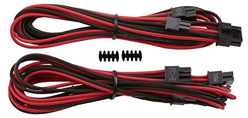 Corsair CP-8920176 Premium Sleeved RMi-, RMx,- SF und Typ4 (Generation 3)-Serie Netzteil 6 plus 2-Polig-PCIe-Single-Kabel rot/schwarz