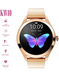 ZDY Smart Watch KW10, Round Touch Screen IP68 Waterproof Smartwatch for Women's Period, Fitness Tracker with Heart Rate & Sleep Pedometer, Bracelet for IOS/Android.