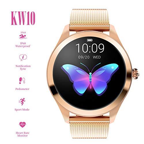 ZDY Smart Watch KW10, Runder Touchscreen IP68 Wasserdichte Smartwatch für Frauen, Fitness Tracker mit Herzfrequenz- und Schlaf-Pedometer, Armband für IOS/Android. (Uhren Screen Touch Kinder Jungen)
