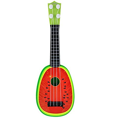 Guitar Ukulele Toy / Kids Fun Learn Musical Instrument Toys Lime Fruit Style 4 String Guitar (Watermelon Desin)