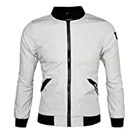 EnergyMen Premium Big & Tall Jacket Stand-up Collar Classic Fit Coat Light Grey XL