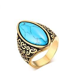 CARTER PAUL Anillo de oro de la joyería de las mujeres de los hombres de acero inoxidable 316L Domineering turquesa de la vendimia