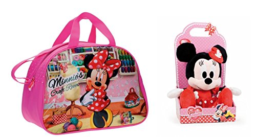 DISNEY: Pack Bolsa de viaje/bolsa de deporte MINNIEŽS CRAFT ROOM + Peluche Minnie I Love Minnie 25cm en Blister .