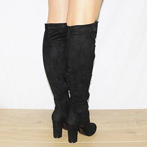 Womens Dames Noires Sur Les Genou Simili-Suède Lacets Bottes Talons Chaussures Noir