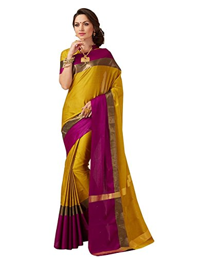 Indian Beauty Women's with Blouse Piece Art Silk Saree (Purple N_Mustered_Free Size)