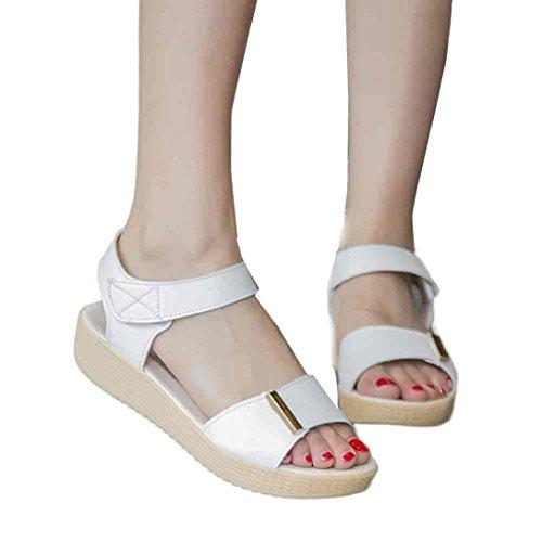 Transer® Damen Sandalen Gemütlich Beiläufig Rosa Himmelblau Weiß PU-Leder+Gummi Wedges Sandalen (Bitte achten Sie auf die Größentabelle. Bitte eine Nummer größer bestellen) Weiß