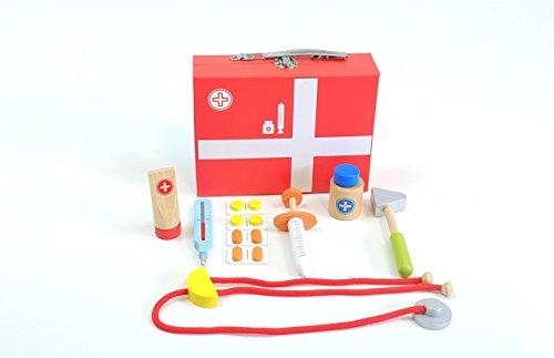 Unbekannt Schöner roter Arzt-Koffer / 10 Instrumente aus Holz / Koffer mit Metallgriff + Metallverschluß / Maße des Koffers: 21x16x6 cm / ab 3 Jahre