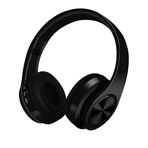 Auricolare bluetooth, cuffie bluetooth hi-fi cuffie stereo wireless con archetto pieghevole sport con slot per schede sd cuffie cablate con microfono per viaggi in aereo lavoro d'ufficio,black