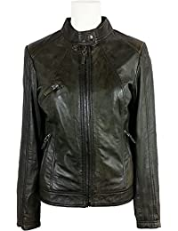 UNICORN Womens Classic Biker Jacket - Real Leather Jacket - Green #2U