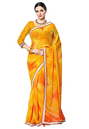 ishin Women's Faux Georgette Saree With Blouse Piece (Ishin-Km-20090, Yellow, Free Size)