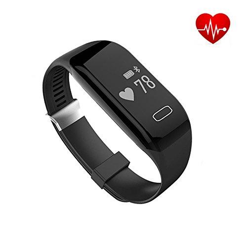 MAXAH Herzfrequenz Monitor Fitnessarmband Bluetooth Fitness Tracker Smartwatch Armband Smart Bracelet Schwarz