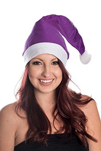Ciffre Weihnachtsmütze Nikolausmütze Mütze Weihnachten Nikolausmütze Santa Christmas Nikolaus Weihnachtsmütze Lila (Lila Santa Kostüm)