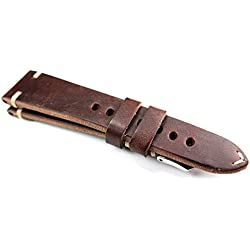 Rios Leather Band White Stitching 22mm Band Retro Quality Strap Dark Brown BS Top Quality