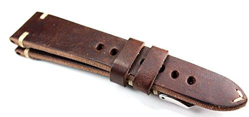 RIOS 1931 Herren Leder Deutsch Uhrenarmband Vintage 22 mm dunkel Braun 22/18mm