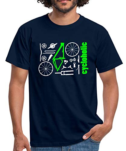 Spreadshirt MTB Teile Cycloholic Mountainbike Komponenten Männer T-Shirt, M, Navy