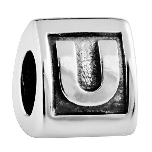 Damen Bead Buchstabe U 925 Sterling Silber Würfel Charms Anhänger für Armband Ketten von Changeable