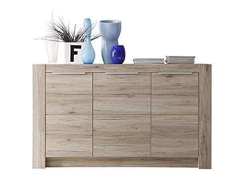 Furnline Cougar San Remo Living Room Cabinet Sideboard, Light Oak