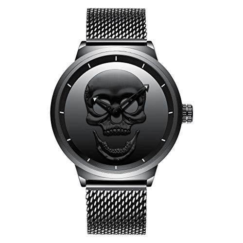 JQXB Herren Armbanduhr, Wasserdichte Herren Quarzuhr Edelstahl Totenkopfuhr für Outdoor Sportuhren Armbanduhr,Black