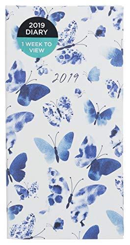 Whsmith 2019Slim blu farfalla stampa diario settimanale