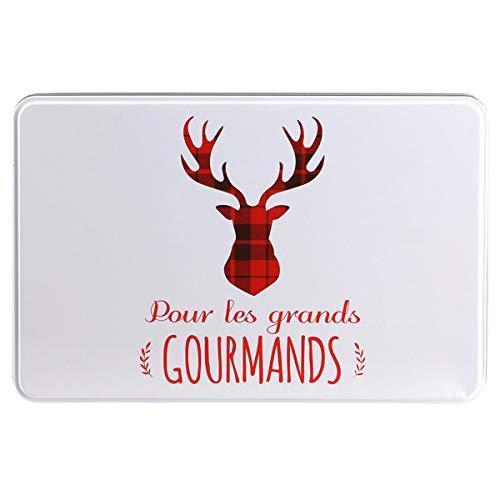 Les Trésors De Lily [Q3601 - Boite à Sucre 'Tartan Ecossais' Rouge (Les Grands 'Gourmands') - 20x13x7 cm.