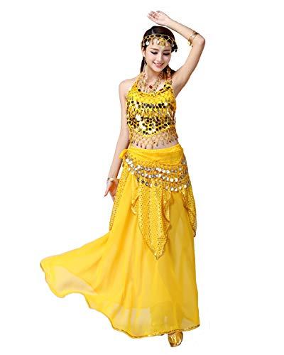 Grouptap Bollywood Mujeres India árabe Sexy Dama Bailarina del Vientre con Lentejuelas Falda Larga Vestido Fiesta Traje Amarillo Elegante Traje Adulto (Amarillo, 155-175 cm de Altura)