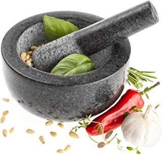 Savisto Mortier et Pilon Premium en Granit Massif 15,5 cm de diamètre