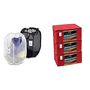 Kuber Industries Large Mesh Laundry Basket Set of 2 Pcs Combo (Color & Print Might Be Vary As Per Availability) Lmesh09 & 3 Piece Non Woven Saree Cover Set, Red,Large Size -CTKTC6432 Combo