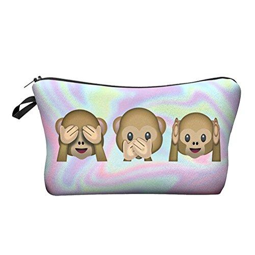 Pixnor Impression 3D singe composent pochette stockage titulaire voyage main cas cosmétiques maquillage sac Lady sac à main