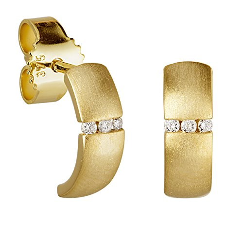 Diamond Line Damen - Ohrstecker 375er Gold 6 Diamanten ca. 0,035 ct, gelbgold