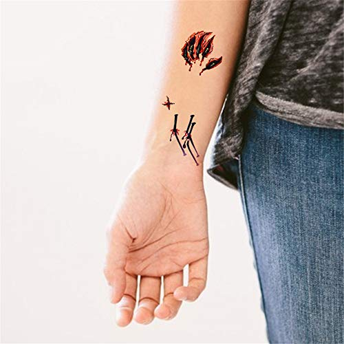 3Pcs-2019 Halloween Tattoo Aufkleber Korea Simulation Gesicht 3D Falsche Wunde Schal Schädel Horror Streich Aufkleber 3Pcs-1 (Halloween 2019 Doodles)