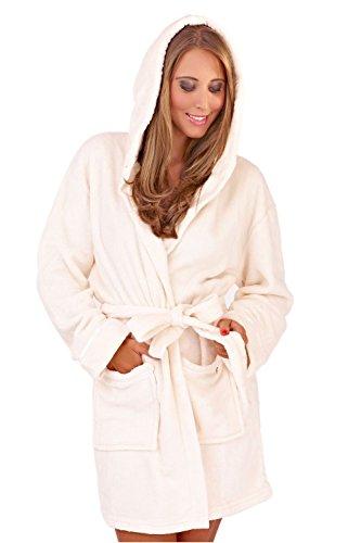 Calda vestaglia calda da donna, colore rosso corallo, in pile super morbido, con cappuccio Cream/Ivory