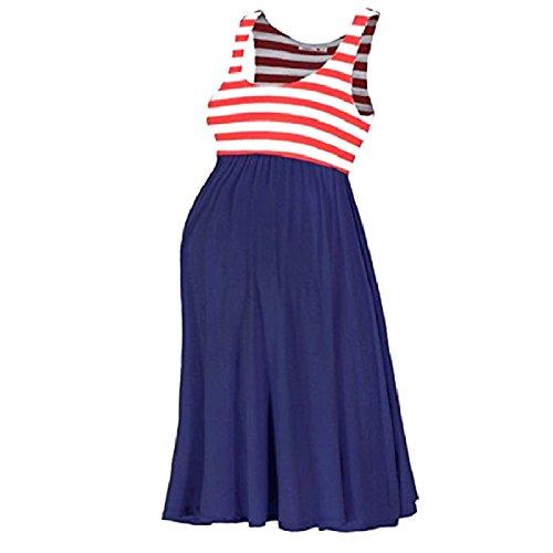 CuteRose Women's Striped High-Waisted Sleeveless Maternity Vest Dresses S Navy Blue