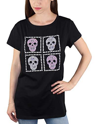 1st American Camiseta t-Shirt Cuello Redondo Manga Corta con Perlas y Calaveras