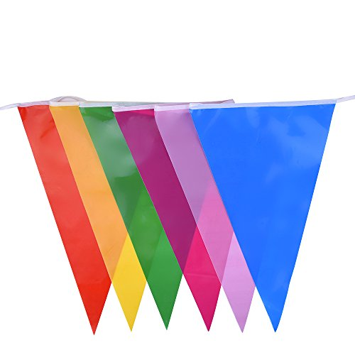 Image of Mudder Multicolor Plastic Bunting Banner 30 Flags Double Sided Indoor/ Outdoor Party Decoration, 36 Feet