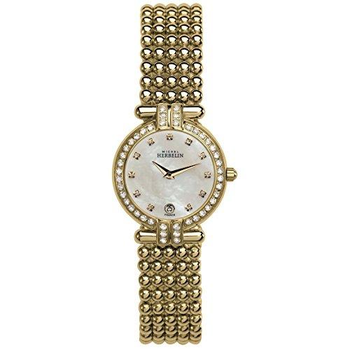 MICHEL HERBELIN Women's Perle 24.4MM Quartz MOP DIAL Watch 16873/44XBP59