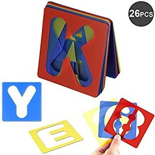 AKWOX 26 Pieces Alphabet Stencils Set Plastic Letter Stencils for Painting Learning, DIY Craft Decoration