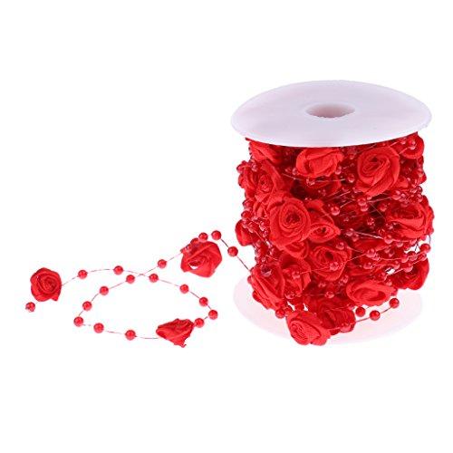 perfk Satin Rose Blume Kunstperle Perlengirlande Perlenband Perlenkette deko Perlen Girlande Tischdeko für Hochzeit Taufe Weihnachten DIY Handwerk Braut Haarschmuck Brautstrauß - rot, 10m
