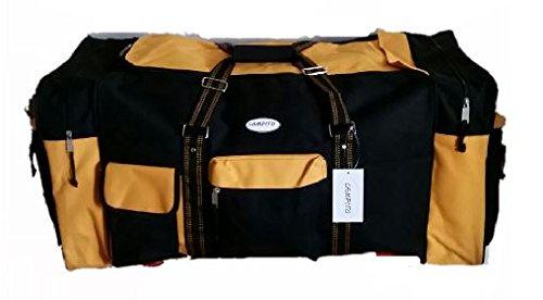 Riesige Reisetasche XXL Sporttasche Tennistasche mit ca. 130 Litern Volumen (Blau) Schwarz-Gelb