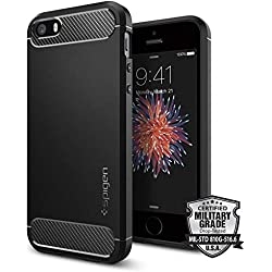 Spigen Coque iPhone Se [Rugged Armor] Souple, Résistant, Design Automobile, Motif Fibre de Carbone, Compatible avec iPhone 5 / 5s / Se - Couleur [Noir]