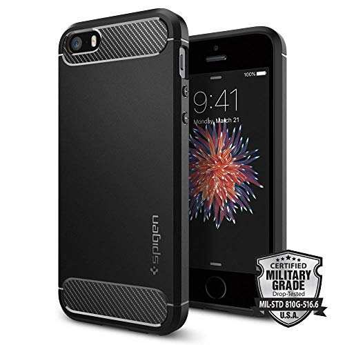 Spigen Cover iPhone 5S, Cover iPhone SE / 5 [Rugged Armor] Impressionante Black - Massima Protezione da Cadute e Urti, Cover Custodia iPhone 5S, Custodia iPhone SE / 5 (041CS20167)