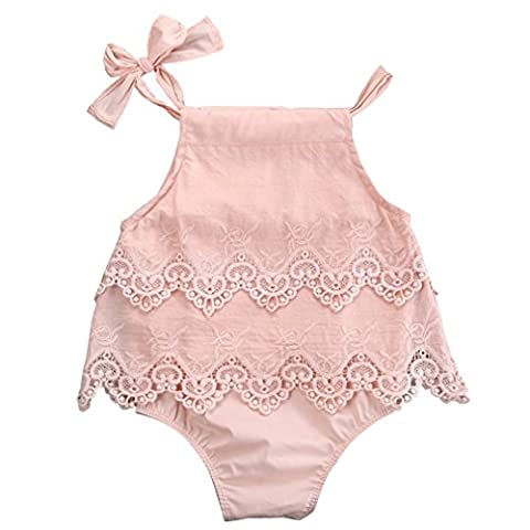 SAMGU Bébé Bambin Baby Girl Fleur Dentelle Romper Bodysuit Sunsuit Jumpsuit Outfit Vêtements Rose