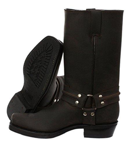 Grinders Meuleuses Renegade Hi unisexe marron Boots en cuir Cowboy Western motards hautes bottes