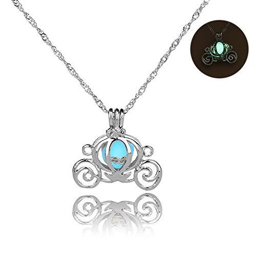 MJARTORIA Damen Mädchen Retro Halskette Crescent Mond Herz Anhänger mit Hellblau Nachtleuchtend Strass Silber Farbe Wehnachten