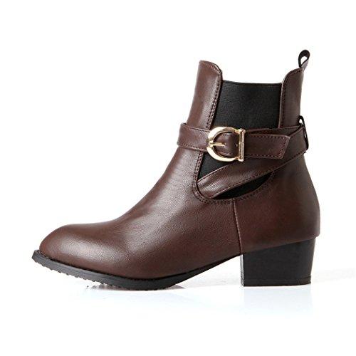ZQ@QX In autunno e in inverno codice grandi scarpe donna di spessore e con bassa ed elegante e versatile serie di pin femmina Stivali Stivali corto brown