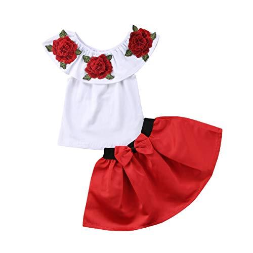 2-7 Jahre Mädchen Schulterfrei Stickerei Rose T-Shirt Tops + Tutu Röcke 2 Stück Outfit Baby Kleidung Set (Rot, 6-7 Jahre) -