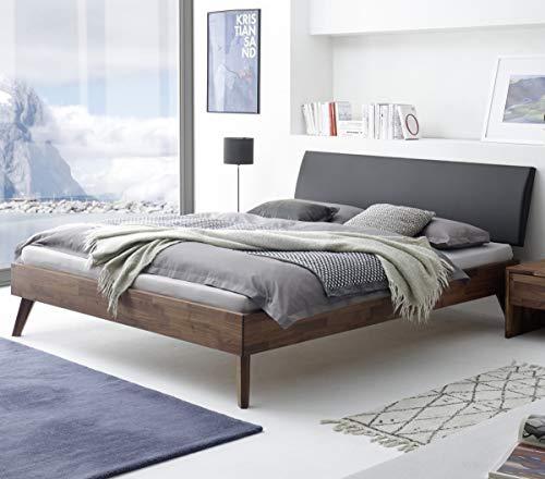 Hasena Fine Line Bett Caprile Nussbaum Kopfteil Kunstleder schwarz 160x200